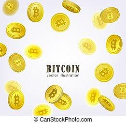 Bitcoin banner, frame with falling BTC coins - Bitcoin,...