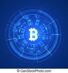 bitcoin, begreppsmässig, glödande, bakgrund., crypto, valuta, blockchain, affär, gruvdrift, bitcoin