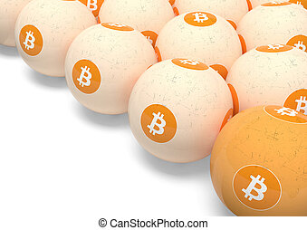 Bitcoin. Billiard balls with the image of crypto currency.