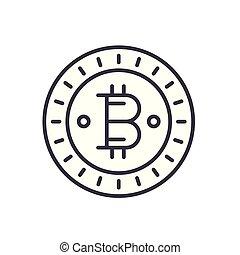 Bitcoin black icon concept. Bitcoin flat vector symbol, sign, illustration.