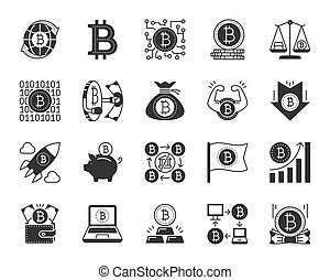 Bitcoin black silhouette icons vector set