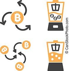Bitcoin Blender Vector Icon Set