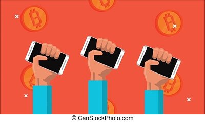 bitcoin blockchain animation with hands lifting smartphones,4k video animated