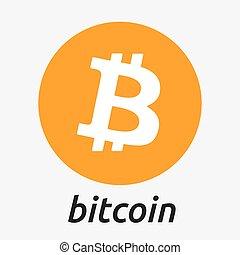 Bitcoin crypto currency blockchain flat logo. Block chain bitcoin sticker for web or print.
