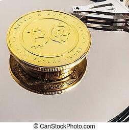 bitcoin, blockchain, intérieur, monnaie, conduire, dur