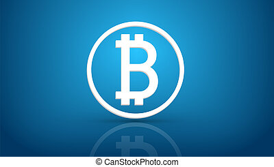 Bitcoin blue background - Bitcoin currency symbol icon on...