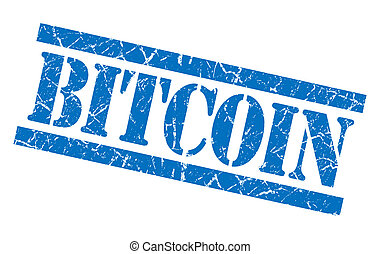 bitcoin blue square grungy isolated rubber stamp