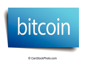 bitcoin blue square isolated paper sign on white