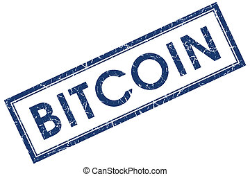 bitcoin blue square stamp isolated on white background