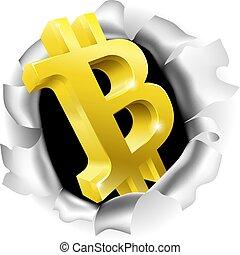 Bitcoin Breaking Through Background Concept