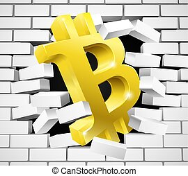 Bitcoin Breaking White Wall Concept