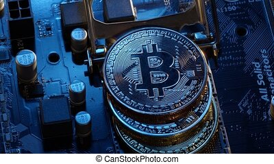 Crypto currency mining. Bitcoin BTC in CPU central processor socket on digital computer motherboard. Concept of finance trading, economics, cashless future, blockchain technology, virtual money
