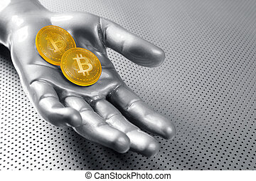 bitcoin, btc, cryptocurrency, sur, argent, main