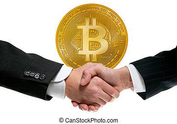 bitcoin, btc, dans, homme affaires, poignée main