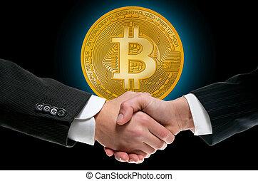 bitcoin, btc, em, homem negócios, aperto mão