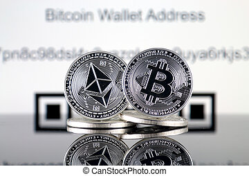 Bitcoin (BTC), Ethereum (ETH) and QR code (Cryptocurrency ...