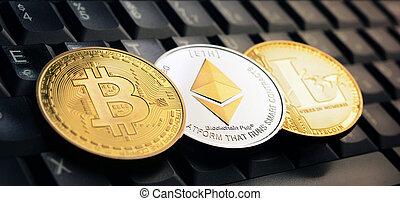 Bitcoin BTC, Ethereum ETH, Litecoin LTC coins over laptop ...