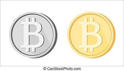 Bitcoin BTC icons greyscale golden yellow isolated - Bitcoin...