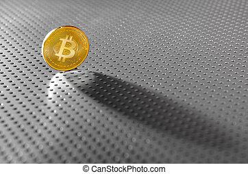 bitcoin, btc, monnaie, ombre, sur, les, argent, sol