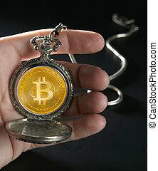 bitcoin, btc, temps, concept, montre antique poche