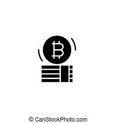 Bitcoin capital black icon concept. Bitcoin capital flat  vector symbol, sign, illustration.