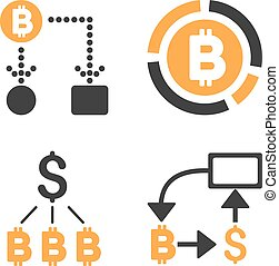 Bitcoin Cashflow Vector Icon Set