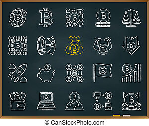 Bitcoin chalk draw line icons vector set
