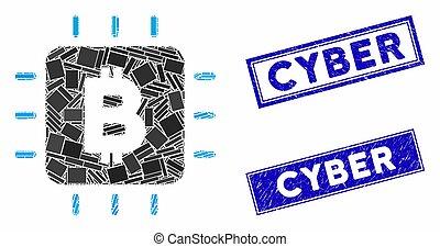 Bitcoin Chip Mosaic and Distress Rectangle Seals