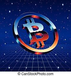 Bitcoin chrome sign with sci-fi futuristic neon grid -...