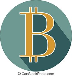 Bitcoin circle icon with long shadow. Flat design style.