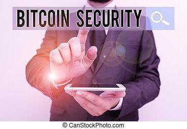 bitcoin, clã©, formel, écriture, projection, complet,...