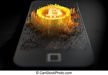 Bitcoin Cloner Smartphone - A 3D render of a microscopic...
