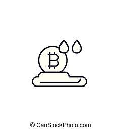 Bitcoin cloud mining linear icon concept. Bitcoin cloud mining line vector sign, symbol, illustration.