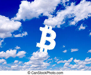Bitcoin clouds - Bitcoin sign in clouds form with blue sky...