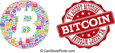 Bitcoin Coin Composition of Mosaic and Scratched Stamp for Sales