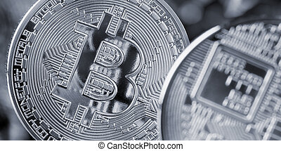 bitcoin coin, cryptocurrency and blockchain concept - ...