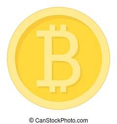 Bitcoin coin flat icon, business and finance