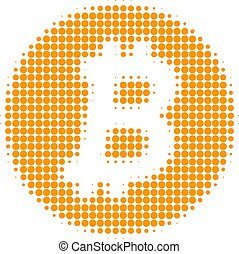 Bitcoin Coin Halftone Dotted Icon