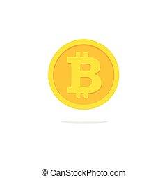 Bitcoin coin icon vector, flat cartoon cryptocurrency money