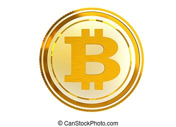 Bitcoin Coin Isolated - Bitcoin Golden Abstract Coin...