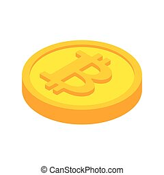 Bitcoin coin isolated. Cryptocurrency on white background. Vector illustration