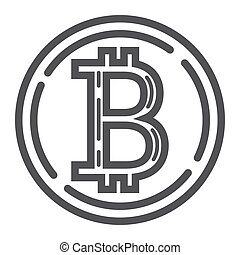 Bitcoin coin line icon, business and finance