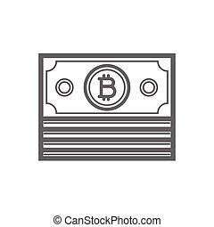 Bitcoin coin line icon.