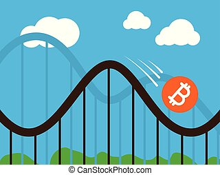 bitcoin coin on roller-coaster