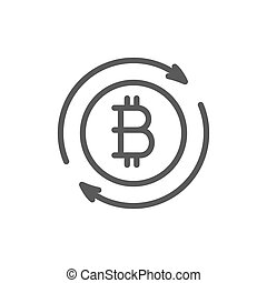 Bitcoin coin sign, cryptocurrency exchange line icon.