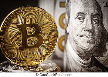 Bitcoin coin standing in front of dollar bills