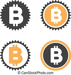 Bitcoin Coin Vector Icon Set