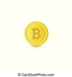 Bitcoin, coin with BTC symbol, cryptocurrency icon -...