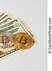 Bitcoin coin with dollars