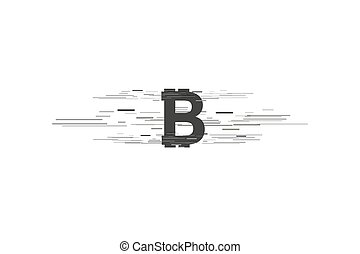 Bitcoin coin with fast speed motion lines